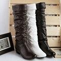Más el tamaño 43 de la moda nueva de la llegada del Invierno de Mitad de la Pantorrilla Mujeres Botas Negro Blanco Marrón pisos zapatos de tacón medio botas de otoño zapatos de la nieve