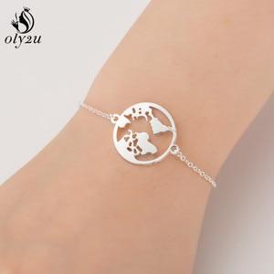 Oly2u Korean Fashion Jewellery Stainless Steel Earth Women Bracelets Jewelry Accessories Pulseira Feminina Christmas Gifts E
