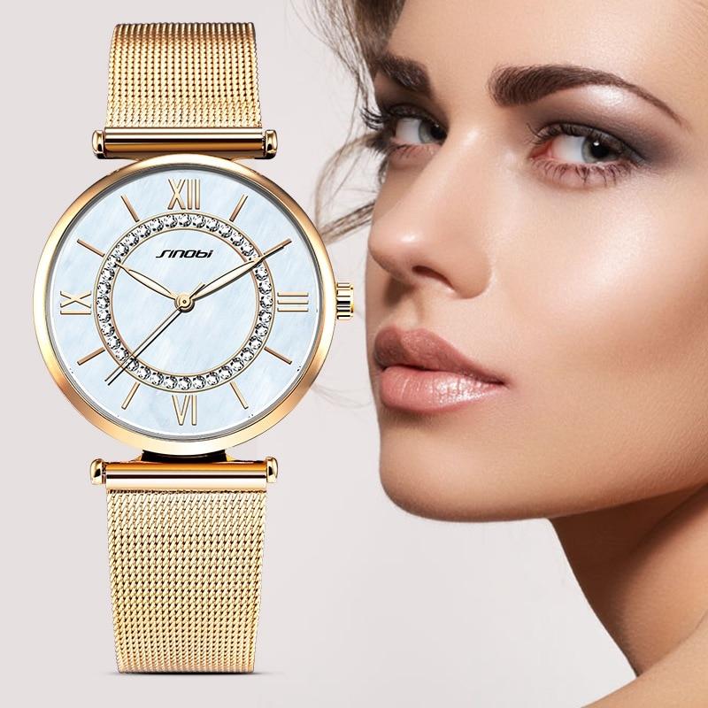 Prix pour SINOBI De Mode Bling Or Top Marque De Luxe de Quartz Montres Femmes Diamant Horloge Femme Genève Horloge À Quartz Dames Montre-Bracelet