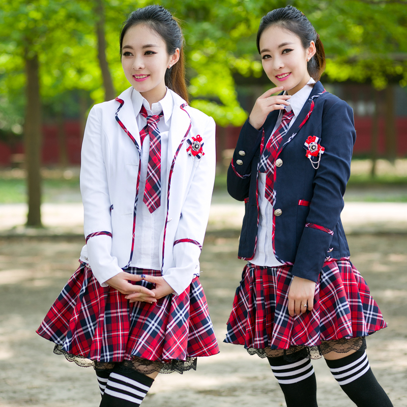 c38bcdffb Girls school uniform jacket blouse skirt set fashion preppy style school  uniform women high quality winter japan school uniforms