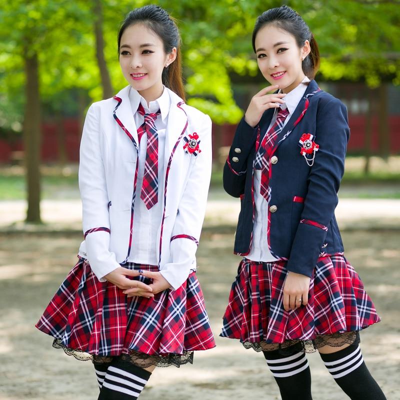 Girls School Uniform Jacket Blouse Skirt Set Fashion -2108