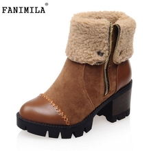 Size 32 43 font b Women b font Lace Up Martin Boots Platform Square Heels vintage