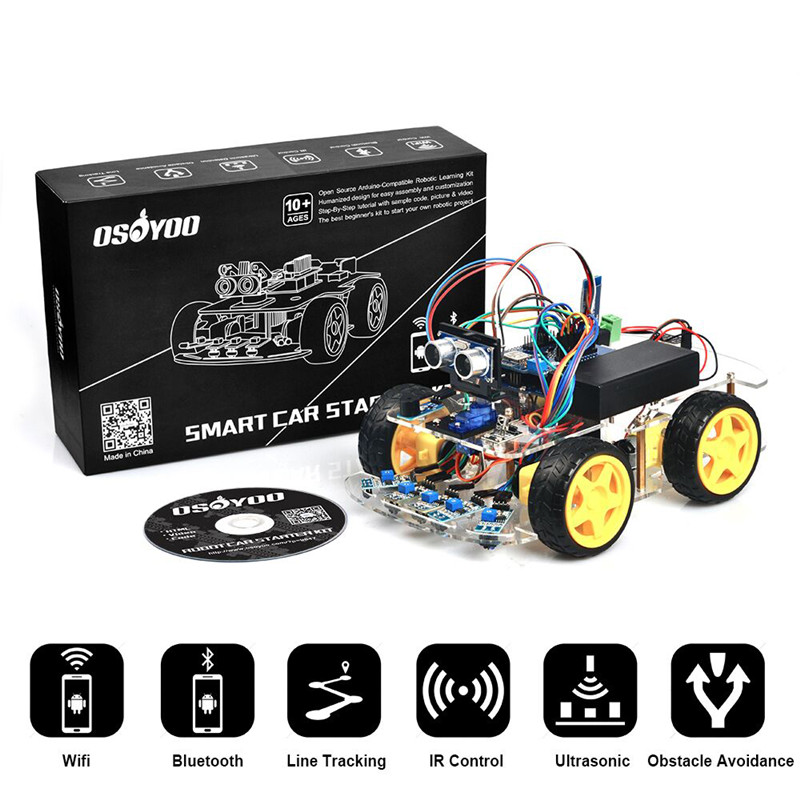 OSOYOO Smart Robot Car Kit with Four-wheel Drives for Arduino UNO R3 Project adeept 2 wheel self balancing upright car robot kit for arduino uno r3 with pdf instruction book android app remote control