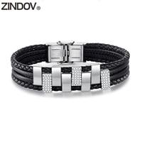ZINDOV Women Bracelet Leather Black Crystals High Quality Girls Fashion Jewelry Stainless Steel Braided Leather Bracelet