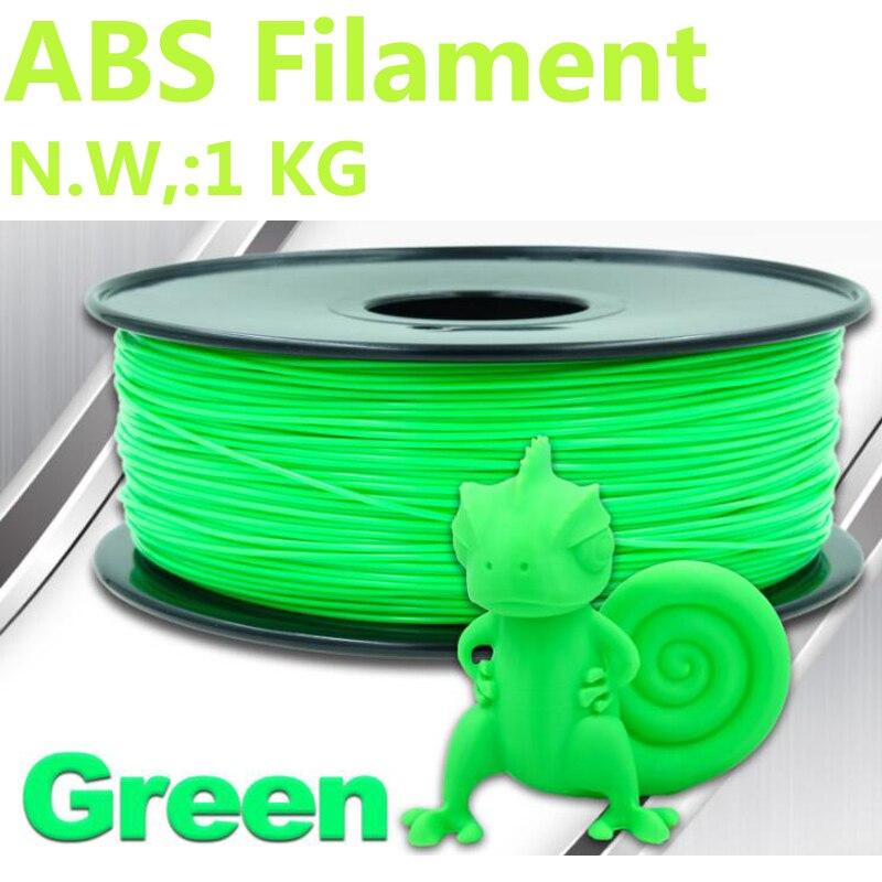 Green Color filament abs 1.75 1kg 3d printer filament PinRui Brand 1.75mm abs filament 3d pen plastic 375m impresora 3dfilament abs filament 1 75 in yellow color 1kg