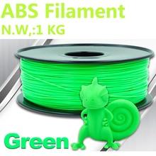 Color verde filamento abs 1.75 1 kg PinRui Marca 1.75mm abs filamento 3d filamento impresora 3d pluma de plástico 375 m impresora 3 dfilament bolsas