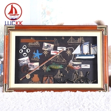 LUCKK 60*40 Wall Hanging 3D Picture Frame With Fishing Rod And Glass Sea Style Wooden Photo Frame Home Decoration Room Crafts 10pcs set wooden mini round photo frame hanging crafts diy handmade with ropes home decoration ornament