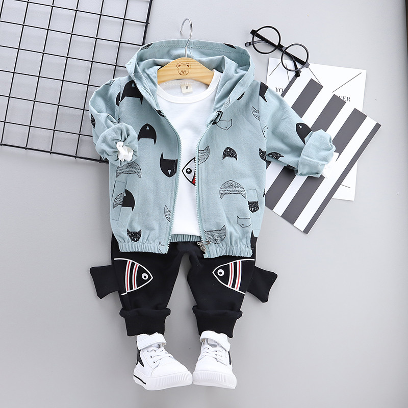 High quality baby boy clothing 2019 spring autumn new active casual kid suit children clothes coat+T-shirt+pant clothing setHigh quality baby boy clothing 2019 spring autumn new active casual kid suit children clothes coat+T-shirt+pant clothing set