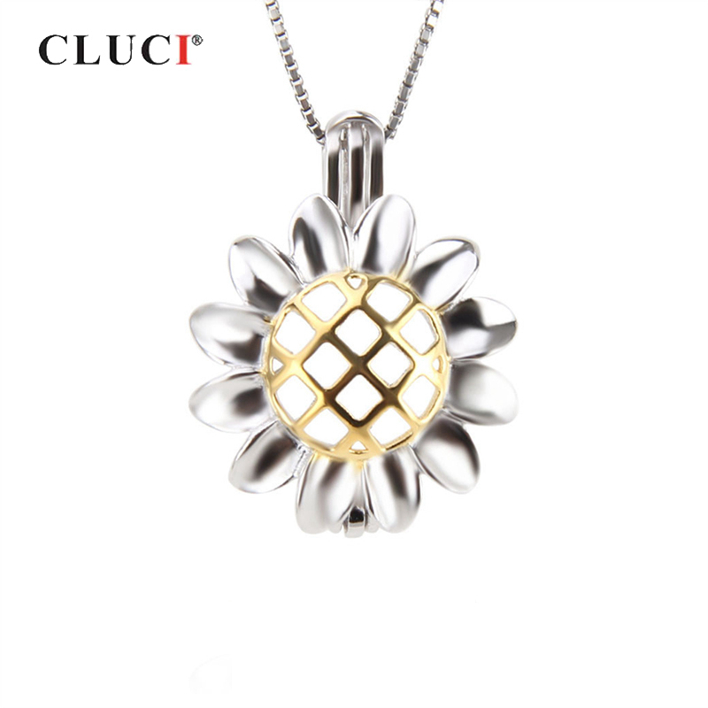 CLUCI 925 Sterling Silver Cage Pendant Lucky Sunflower Shaped Charms Real Silver 925 Pendant for Women Pearl Locket JewelryCLUCI 925 Sterling Silver Cage Pendant Lucky Sunflower Shaped Charms Real Silver 925 Pendant for Women Pearl Locket Jewelry