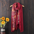 2016 Novelty Vintage Style Flower embroidered Women Scarves Oversized Long Cotton Scarves Retro Shawls Foulard 180*90cm