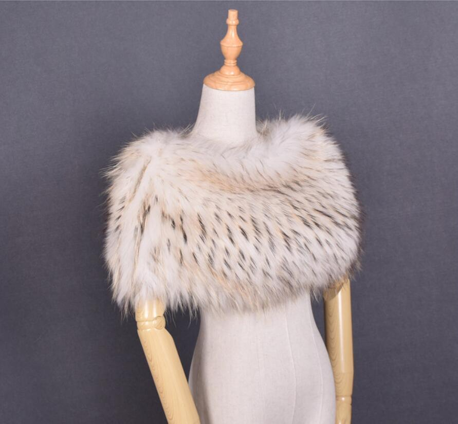 fur scarf women ponchos and capes winter pashmina of natural raccoon fur scarf ring shawls and wraps gray pink white S142