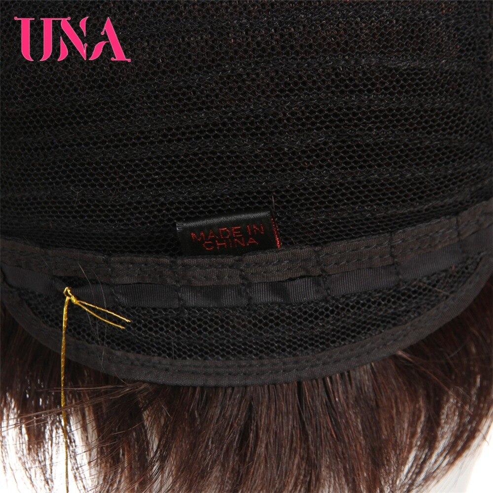 UNA Human Hair Wigs Short Non-Remy Human Hair Wigs 150% Density Peruvian Striahgt Human Hair Wigs Non-Remy Peruvian Hair Wigs 6