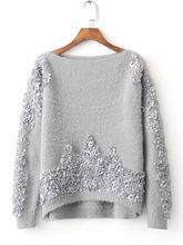 Модный подиумный свитер 2017 зима новый корейский модный милый тонкий  лепестки украшенный круглый воротник свитер высокого 4fe49b00513