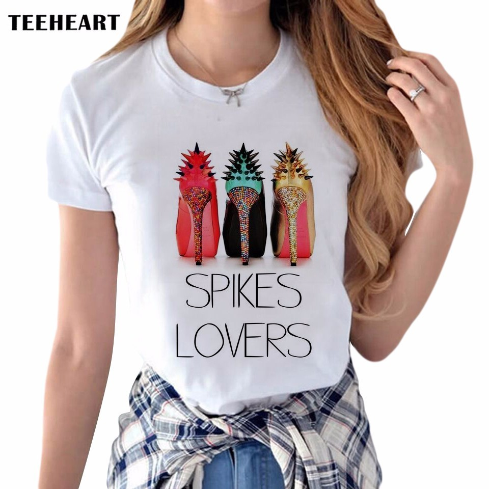 2017 Women New Brand Colorful High Heel Fashion Designer Round Neck Short Sleeve Spike Lover Printed Clothes T-Shirt