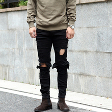 NEW HOT fashion high street male tide jeans with the hole casual pants slim cool tights jogger bodybuilding clothing