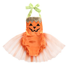 2018 Baby Infant Girl Neck Halloween Pumpkin Bodysuit Skirt Orange Tutu Tulle Costume Clothes Cute Holiday Outfit ZX 45(China)