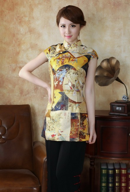2014 nuevo oro de la manera de las mujeres chinas de señora clothing blusas cami