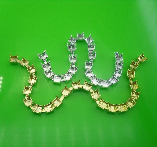 SS30 Fashion kostuum applique silver & gold lege metal cup claw versieringen chain voor 6mm strass bruiloft decoratie 100 yards-in Bergkristallen van Huis & Tuin op  Groep 1