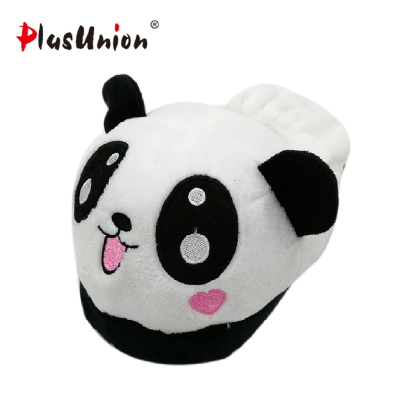 Lovely panda eyes cute slippers flock soft winter cartoon indoor flat home for women animal slipper faux plush fluffy shoes s138 cry emoji cartoon flock flat plush winter indoor slippers women adult unisex furry fluffy rihanna warm home slipper shoes house