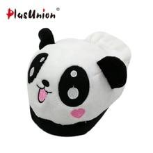 3e6577466 Lovely panda eyes cute slippers flock soft winter cartoon indoor flat home  for women animal slipper faux plush fluffy shoes s138