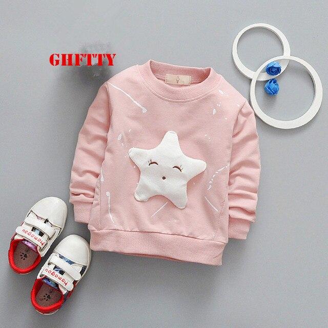 Ghftty детская одежда милый Конг-Футболка с рукавами пентаграмма мультфильм Модная рубашка для маленьких девочек Костюмы Хлопок Весна и осень