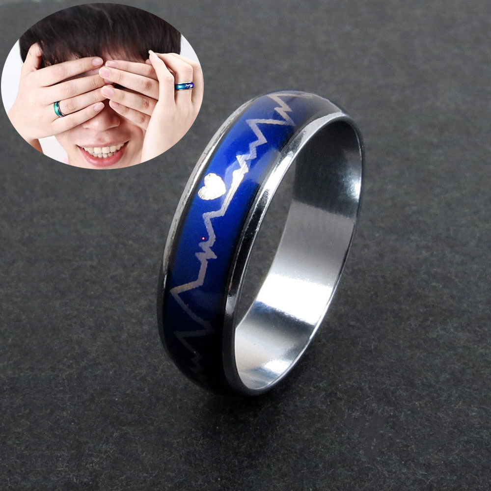 Fashion Lovers Couple Heart Beat Chart Ring Wedding Engagement Party Band Ring Jewelry Gifts CX17