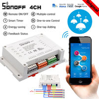 Sonoff 4CH R2 10A /Gang 4 Channel Wifi Smart Home Automation Switch RF Remote Light Support 4 Device Work with Alexa Google Home