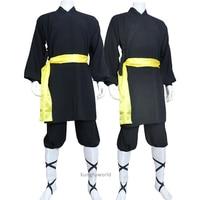 Custom Tailored High Quality Linen Black Shaolin Robe Monk Uniform Wushu Martial arts Wing Chun Kung fu Karate Suit