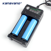 Kanavano Battery Charger 2 Slots USB Dual For 18650 18350 16340 14500 10440 Charging 3.7V Rechargeable Li-Ion battery charger 2016 hot black 2 slots 18650 charger ac 110v 220v dual for 18650 battery 3 7v rechargeable li ion battery charger eu plug yl36