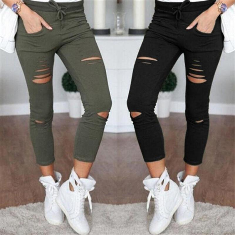 Skinny Leggings Women  Pants Holes Destroyed Mid-Calf Pencil Pants Casual Trousers Black White Army Green Stretch Ripped Jeans