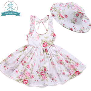 Image 3 - Baby Girls Dress with Hat 2018 Brand Toddler Summer Kids Beach Floral Print Ruffle Princess Party Clothes 1 8Y