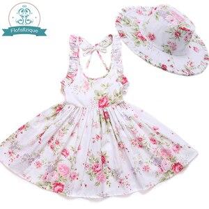 Image 3 - Baby Mädchen Kleid mit Hut 2018 Marke Kleinkind Sommer Kinder Strand Floral Print Rüschen Prinzessin Party Kleidung 1 8Y