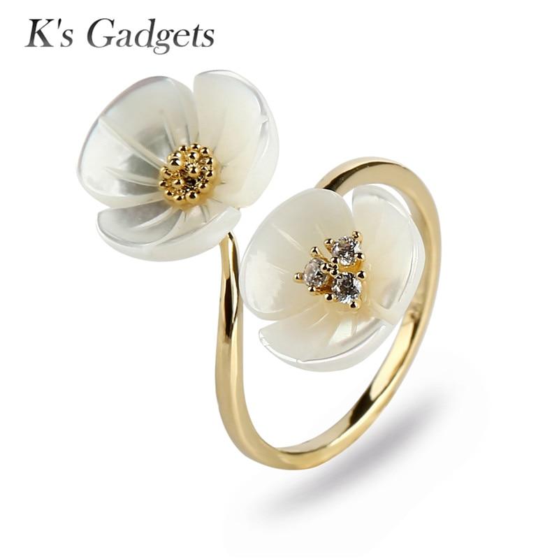 Mode Naturliche Shell Kleine Blumen Frauen Ringe Gold Und Silber
