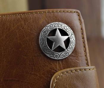 Mens Cool Genuine Leather Biker Texas Star Zipper Card /Money Chain wallet Purse W222