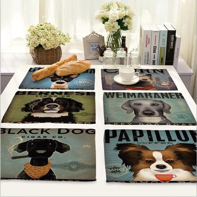 Accueil d cor nordique bande dessin e chien napperon linge for Tapis de cuisine nordique
