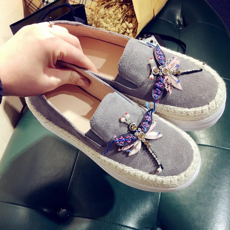Big Size Women Platform Loafers Crystal Genuine Leather High Quality Pointed Toe Flats Shoes For Women Slipony Women Rhinestone  (37)