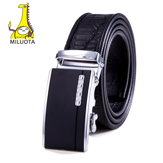 2016 Crocodile Men`s Leather Belt Sliding Buckle Brand Ratchet Belt Fashion Man Automatic MU045