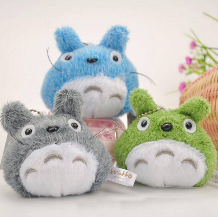 3pcs/lot 9cm Mini Cartoon Totoro Plush Pendant Staffed Soft Anime Totoro Key Chains Bag Pendant Kids Love Toys Doll Gift