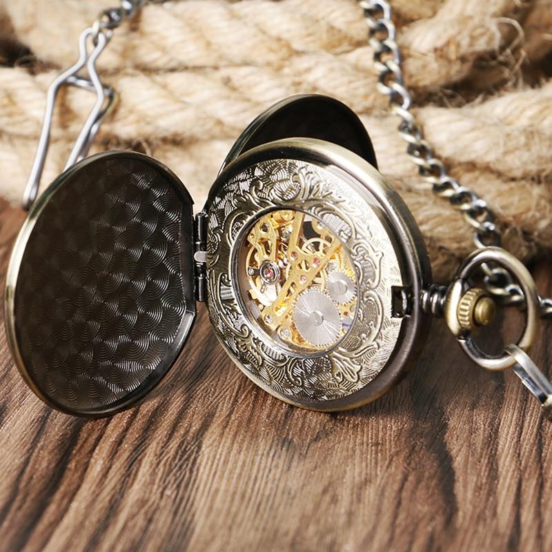abce99bdb11 Projeto do Trem de Bronze do vintage Relógio de Bolso Das Mulheres Dos Homens  Relógios Duplo Hunter Mão Mecânica Do Vento Relógio Pingente Presente  P1034C ...