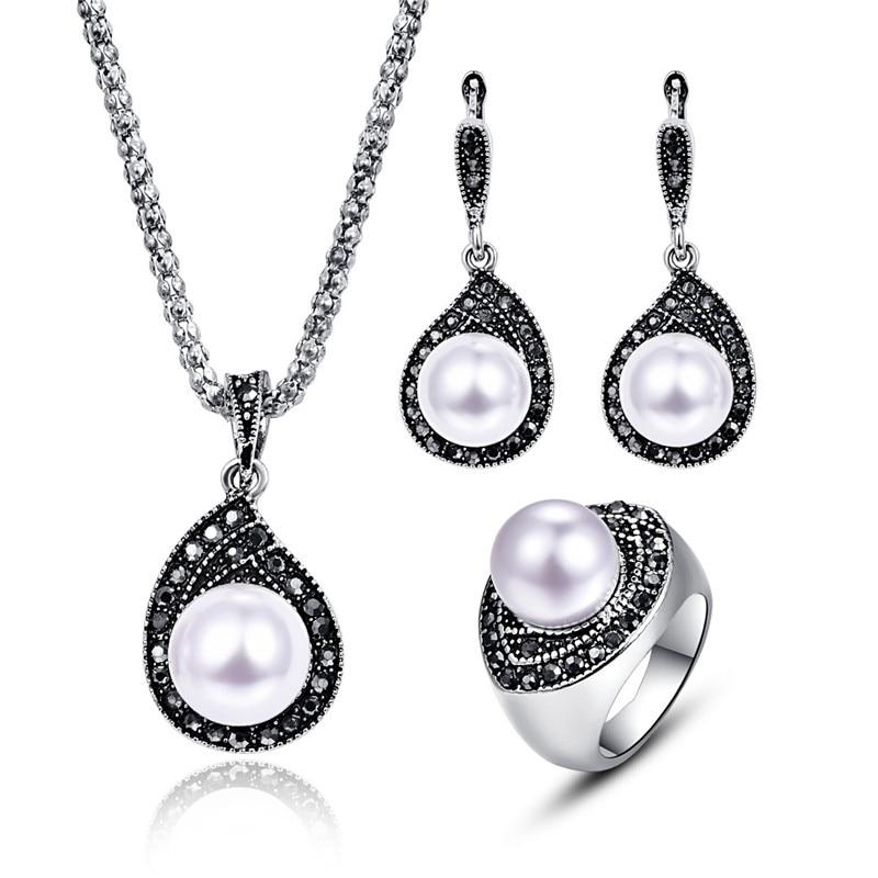 خمر فاخرة لؤلؤة مجموعات المجوهرات الكلاسيكية قطرة الماء قلادة قلادة مجموعات الأزياء الأسود كريستال بيرل مجموعات مجوهرات للأمهات