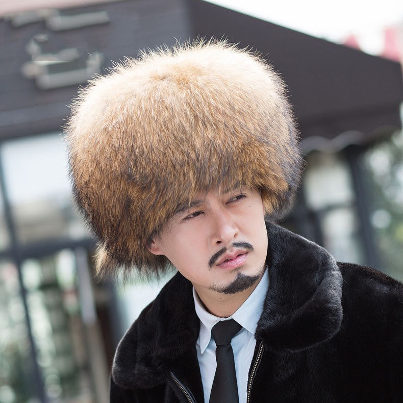 Free ship Real Genuine Raccoon Fur Hat Men with Tails Russian Style Hat  Winter Wrm outdoor fur cap middle aged Lei Feng hat-in Bomber Hats from  Apparel ... 26bcac04077