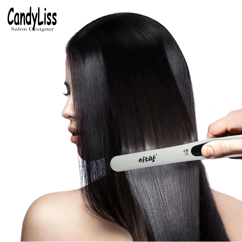 2in1 Portable Wireless Beard Hair Straightener Electric Straight hair comb USB rechargeable LCD straightener brush