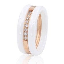 Belleza de primavera moda cubic zirconia piedra anillo titanium anillos de cerámica para las mujeres mujer grande ancho anillos de lujo