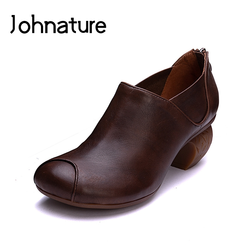 Johnature 2019 Autumn New Style Retro Round Toe Casual Shallow Zipper Platform High Heels Wedges Women