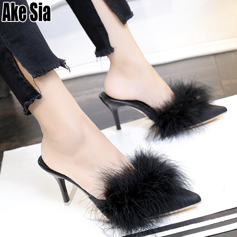 Chic Sexy Woman Fish Scale Villus Vamp Women Girl Stilettos High Heels Fashion Lady Loafers Lazy Scuff Slippers Mules Shoes A757Chic Sexy Woman Fish Scale Villus Vamp Women Girl Stilettos High Heels Fashion Lady Loafers Lazy Scuff Slippers Mules Shoes A757