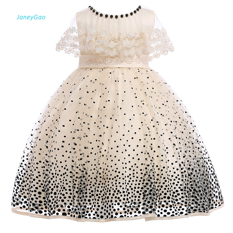 JaneyGao 2018   Flower     Girl     Dress   For Wedding Party Lace Point Beading Champagne Little   Girl   Formal   Dress   Pageant   Dress   Formal