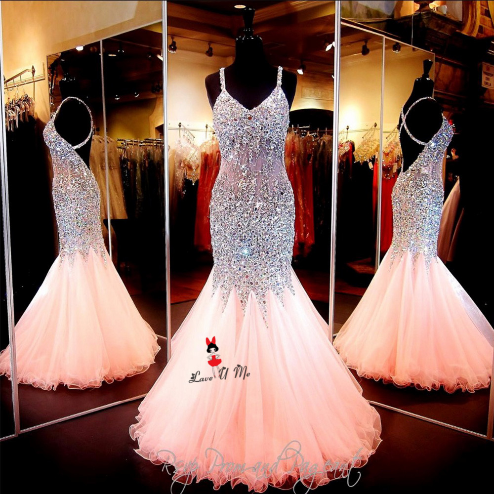 Sexy Pageant Pink Gold Crystals Long Evening Gowns Vestidos De Noche Tulle Mermaid Prom Dresses