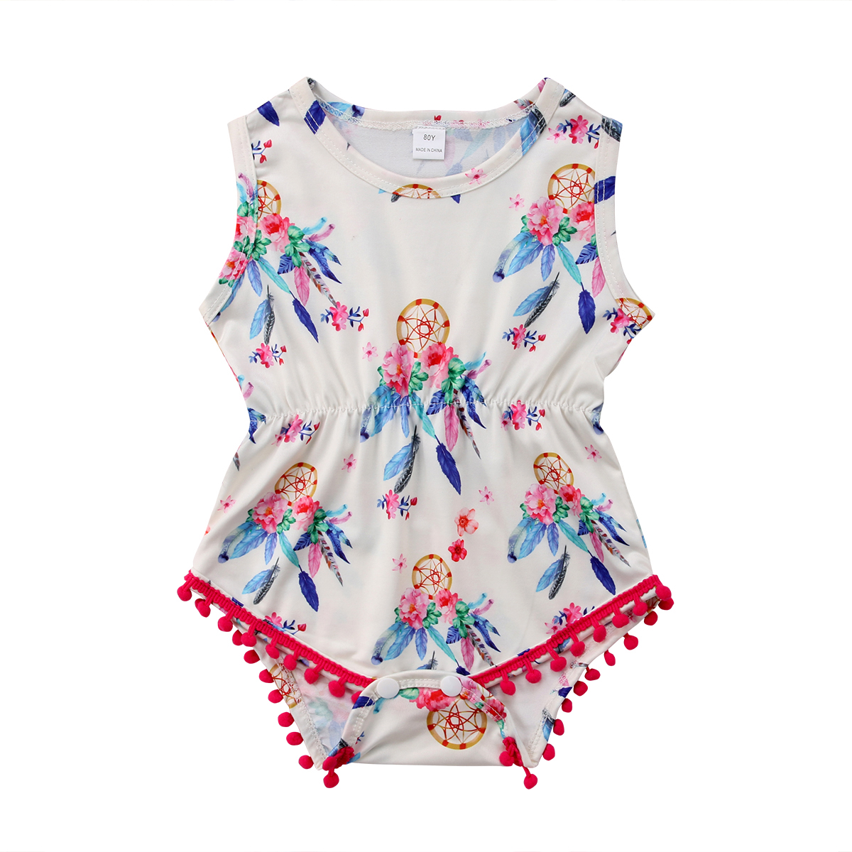 0cd0867abf34 Pretty Tassel   Floral Romper Newborn Baby Girl Jumpsuit Playsuit Summer  Clothes