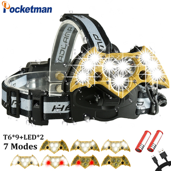 60000Lumens Waterproof LED Headlight 11 LEDs Head Lamp Flashlight Lanterna Rechargeable Headlamps For Camping with 18650 battery
