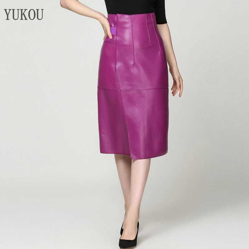 Women Skirt Sheepskin Genuine Leather Long 2019 Fashion Female Sexy Design A Real Slim Hip Belt Skirt Violet